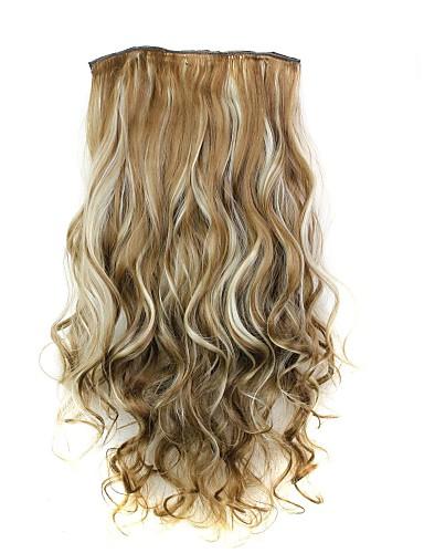 ราคาถูก Beauty & Hair-ความหงิก คลาสสิก สังเคราะห์ 22 นิ้ว การต่อผม ติดไว้ด้านใน / ติดไว้ด้านบน สำหรับผู้หญิง ทุกวัน