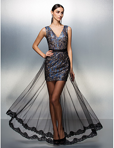 Sheath / Column V-neck Floor Length Lace Tulle Prom Formal Evening Dress with Sash / Ribbon by TS Couture®