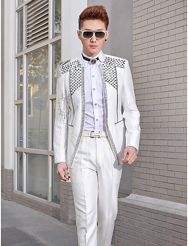 Tuxedos Slim Fit Mandarin Collar No Buttons Polyester Pattern