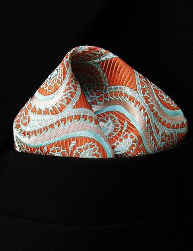 QH1 shlax&πτέρυγα Paisley πορτοκαλί ροζ πράσινο τετράγωνο τσέπη mens μαντήλια μαντήλι