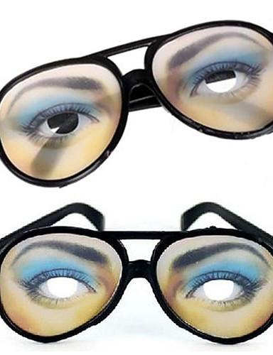 billige Halloweenutstyr-1 par kvinner øye print praktisk spøk morsomme briller for Halloween kostyme fest (15.5x6cm)