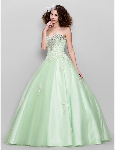Haine Bal In Formă de Inimă Lungime Podea Tulle Bal Seară Formală Rochie cu Mărgele Aplică Detalii Cristal de TS Couture®