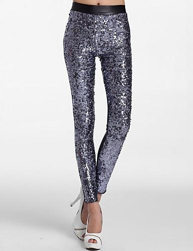 abordables Pantalons Femme-Femme Coton Sexy Métalique Legging - Couleur Pleine, Paillettes Taille médiale Argent Fuchsia Rouge Taille unique / Mince