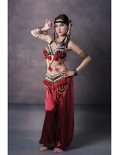 Belly Dance Outfits Women's Performance Silk Sequined Buttons Pattern / Print Tassel Dropped