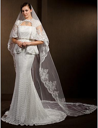 Menyasszonyi fátyol Kétkapcsos Katedrális fátylak Csipke szegély 260 cm Tüll Fehér Elefántcsontszín