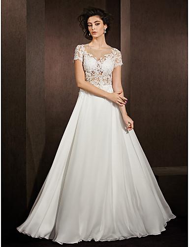 A-Linie Illusion Neckline Na zem Krajka Saténový šifon Svatební šaty s Korálky Aplikace podle LAN TING BRIDE®