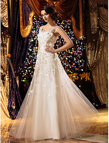 A-Linie U-Ausschnitt Boden-Länge Tüll Benutzerdefinierte Brautkleider mit Stickerei Blume durch LAN TING BRIDE®