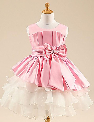 Ball Gown / Princess Tea Length Flower Girl Dress - Satin / Tulle Sleeveless Scoop Neck with Bow(s) / Sash / Ribbon / Pleats by