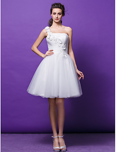 Ball Gown One Shoulder Knee Length Tulle Made-To-Measure Wedding Dresses with Ruched / Flower / Criss-Cross by LAN TING BRIDE® / Little White Dress
