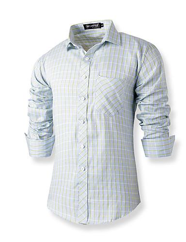 Masculino Camisa Casual Simples Primavera / Verão,Sólido / Xadrez Azul Algodão Colarinho de Camisa Manga Longa Média