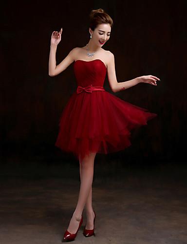 Krótka / Mini Tiul Sznurowane Sukienka dla druhny - Krój A W kształcie serca z Przewiązka / Wstążka