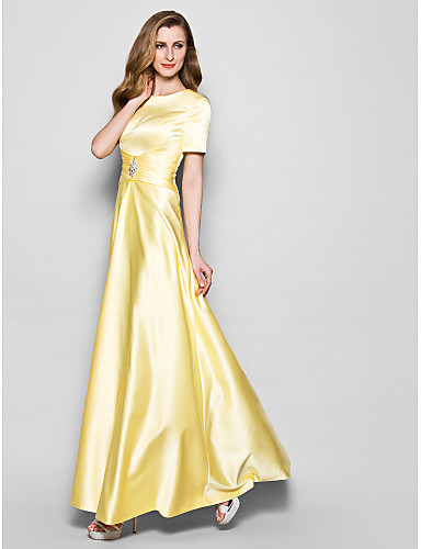 A-Line Jewel Neck Floor Length Satin Mother of the Bride Dress with Crystal Detailing Sash / Ribbon Ruched by LAN TING BRIDE®