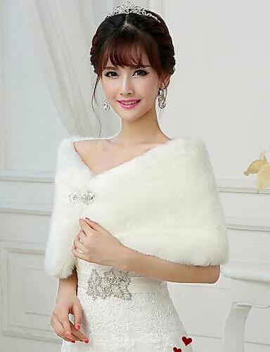Sleeveless Faux Fur Wedding Party Evening Fur Wraps Wedding  Wraps Shrugs