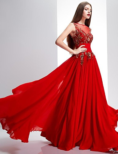 A-Line Illusion Neckline Sweep / Brush Train Chiffon Lace Formal Evening Dress with Sequin Lace by TS Couture®