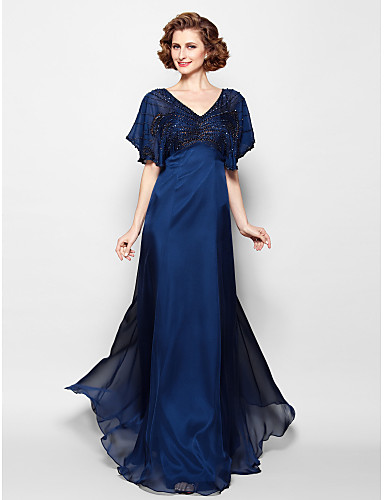 A-Line V Neck Floor Length Chiffon Mother of the Bride Dress with Beading by LAN TING BRIDE® / Sparkle & Shine