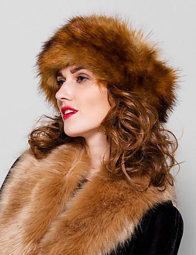 Kadın's Şapka Vintage Parti Günlük Suni Kürk Kış Gri Deve