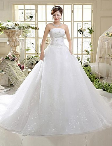 A-Line Strapless Cathedral Train Tulle Wedding Dress with Sequin Bow by QQC Bridal
