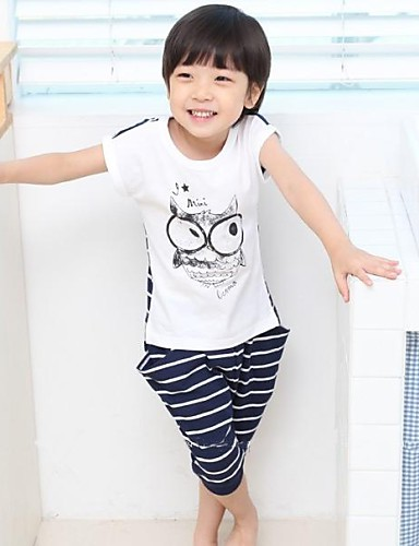 Children's Summer/Spring/Fall Micro-elastic Medium Short Sleeve Clothing Sets (Cotton)