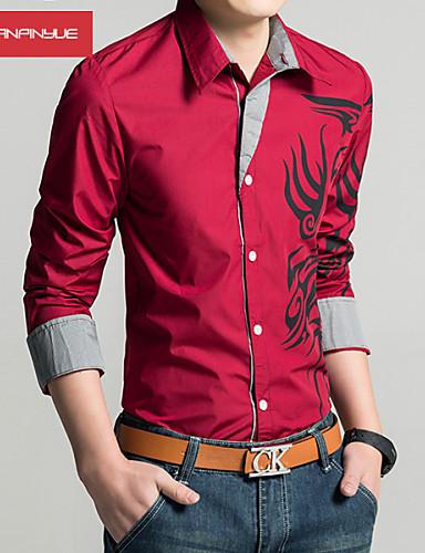 voordelige Herenoverhemden-Heren Print Overhemd Katoen, Sport / Werk Rood / Lange mouw