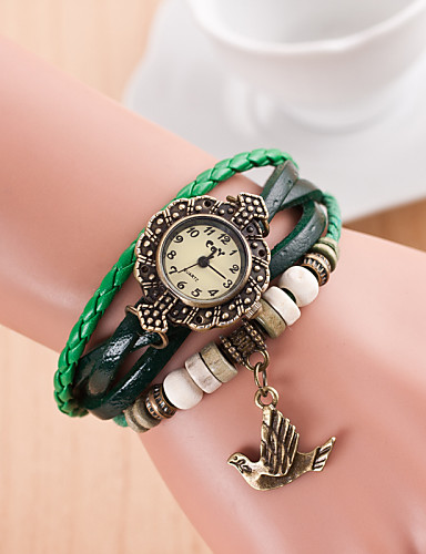 Women's Quartz Wrist Watch PU Band Casual Black