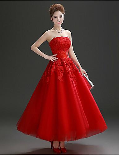포멀 이브닝 드레스 A-라인 끈없는 스타일 발목 길이 튤 와 크리스탈 디테일 / 레이스