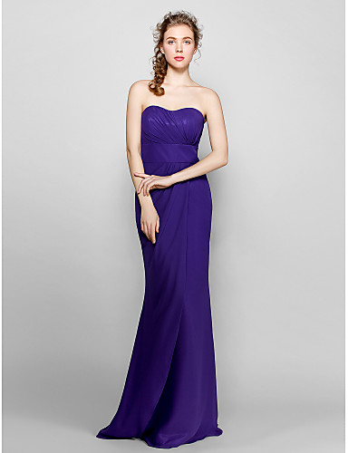 Sheath / Column Sweetheart Neckline Floor Length Chiffon Bridesmaid Dress with Side Draping by LAN TING BRIDE®