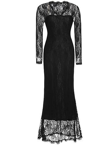Kadın's Büyük Bedenler sofistike Bandaj Dantel Elbise - Solid V Yaka Maksi Siyah