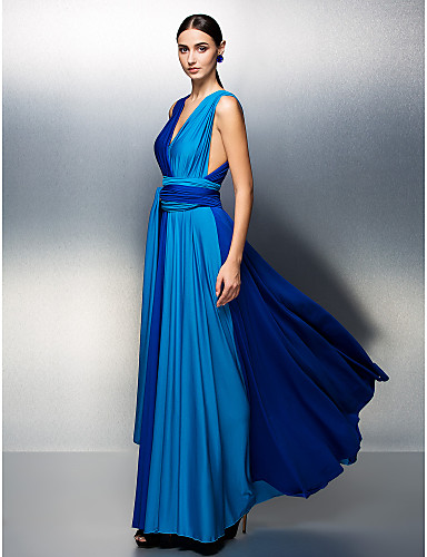 A-Line V Neck Floor Length Jersey Prom / Formal Evening Dress with Sash / Ribbon Pleats by TS Couture®