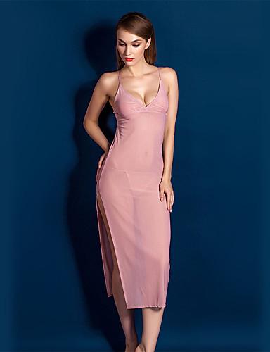Для женщин Сорочка / халат Кружевное белье Ультра-секси Ночное белье Однотонный Кружева Полиэстер Розовый Черный