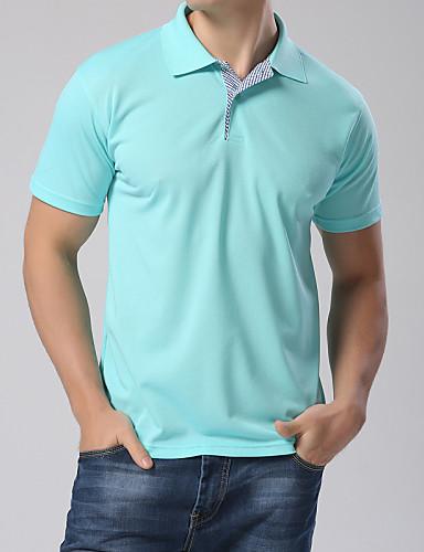 Men's Plaid Collar Short Sleeve Polos