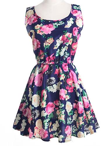 여성용 스케이터 드레스 - 플로럴, 프린트 미니