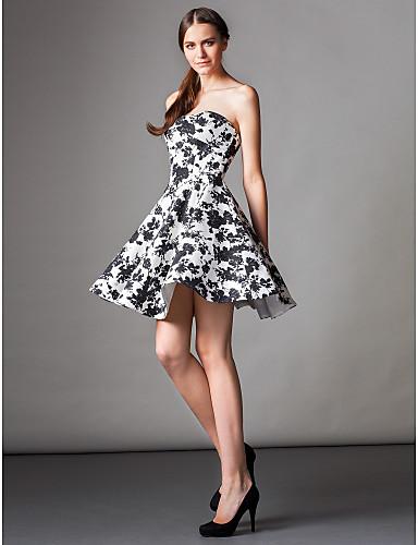 A-Şekilli Straplez Diz Boyu Saten Kokteyl Partisi Mezunlar Günü Balo Elbise ile Cepler tarafından TS Couture®