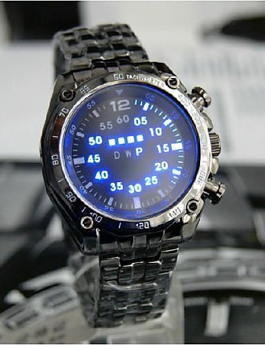 TVG Man LED Black Light Waterproof Steel Band Watch Cool Watch Unique Watch