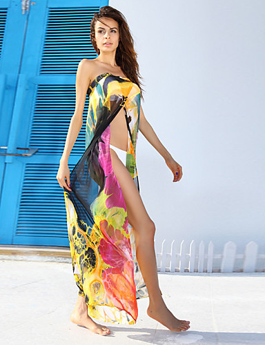 Women's Floral Print Cover-Up Swimwear Yellow Blue