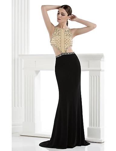 Τρομπέτα / Γοργόνα Λεπτές Τιράντες Μακρύ Spandex Επίσημο Βραδινό Φόρεμα με Χάντρες Κρυστάλλινη λεπτομέρεια με TS Couture®