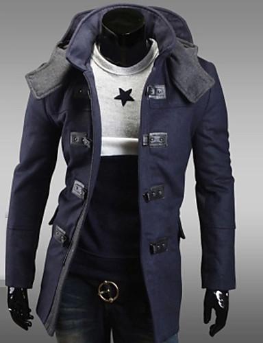 Vékony Férfi Kabát - Egyszínű, Tiszta szín Gyapjú