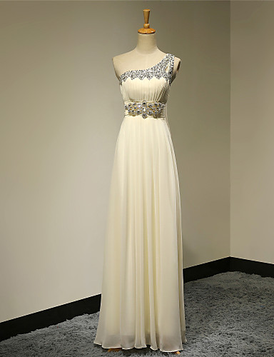 A-Line One Shoulder Floor Length Chiffon Formal Evening Dress with Beading