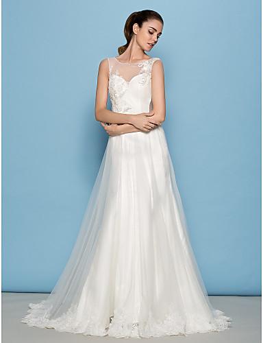 Lanting Bride® Trapèze Petites Tailles / Grandes Tailles Robe de Mariage  Traîne Tribunal Décolleté Tulle avec