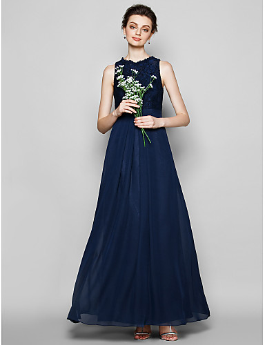 Sheath / Column Jewel Neck Floor Length Chiffon / Lace Bridesmaid Dress with Lace by LAN TING BRIDE®