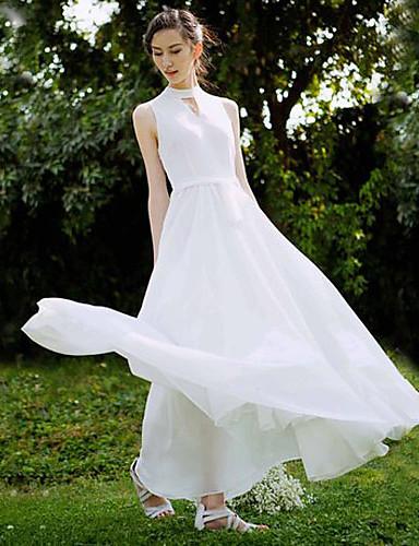 여성의 드레스 민소매 맥시 쉬폰