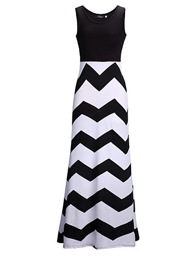 Women's Holiday Sexy Swing Maxi Dress,Striped Color Block Round Neck Sleeveless Low Rise
