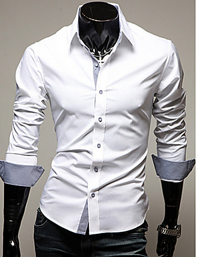 Men's Business Plus Size Cotton Slim Shirt - Solid Colored Classic Collar
