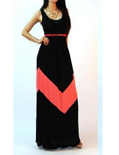 Women's Loose Dress - Color Block, Backless