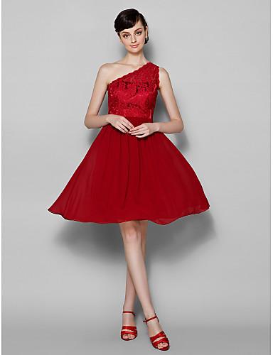 A-Linie Ein-Schulter Knie-Länge Spitze Brautjungfernkleid mit Spitze durch LAN TING BRIDE®