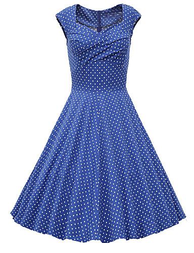 Women's Vintage A Line Dress - Polka Dot Sweetheart