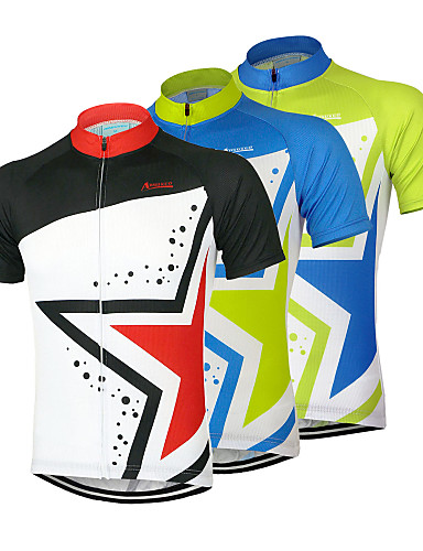 cheap Cycling Clothing-Arsuxeo Men's Short Sleeve Cycling Jersey - Black Green Blue Bike Jersey Top Breathable Quick Dry Anatomic Design Sports 100% Polyester Mountain Bike MTB Road Bike Cycling Clothing Apparel / Stretchy