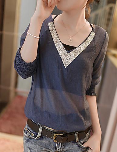 Для женщин На каждый день Все сезоны Блуза Простое Однотонный Длинный рукав Средняя