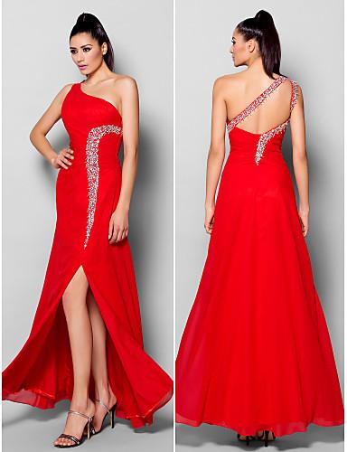 Sütun Tek Omuz Yere Kadar Şifon Boncuklama Kristal Detaylar Ayrık Ön ile Resmi Akşam Elbise tarafından TS Couture®