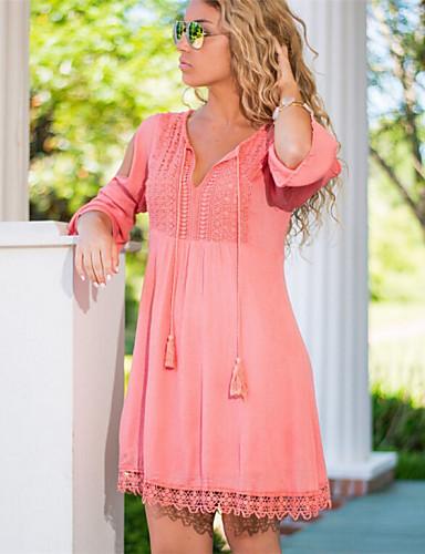 Γυναικείο Καθημερινά Απλό Χαριτωμένο Φαρδιά Φόρεμα,Patchwork Μακρυμάνικο Λαιμόκοψη V Πάνω από το Γόνατο Καλοκαίρι Κανονική Μέση Ανελαστικό