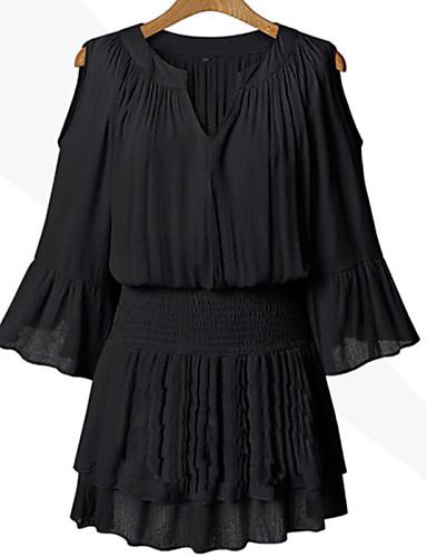 Γυναικεία Μεγάλα Μεγέθη Flare μανίκι Φαρδιά Φόρεμα - Μονόχρωμο Patchwork, Κοφτό Πάνω από το Γόνατο Λαιμόκοψη V